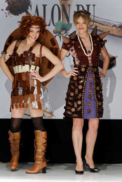 Slide 10 de 21: Anaïs Delva and Maya Lauqué walks on the runway during the Salon Du Chocolat' s fashion show on October 27, 2016 in Paris, France.
