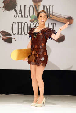Slide 7 de 21: Capucine Anav walks the runway during the Dress Chocolate Show as part of Salon du Chocolat at Parc des Expositions Porte de Versailles on October 27, 2016 in Paris, France.