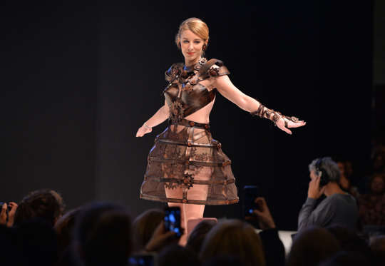 Slide 3 de 21: A model walks the runway with a chocolate dress during the 22nd edition of Salon du Chocolat (Chocolate Fair), the world's largest event dedicated to the art of chocolate in Paris, France on October 29, 2016.