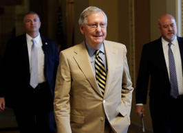 Senate Majority Leader Mitch McConnell of Ky. walks from his office on Capitol Hill in Washington, Monday, June 26, 2017.