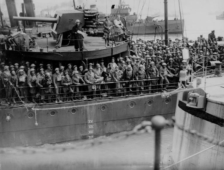 Slide 52 of 100: 1942: Soldiers on a Ship in World War Two.