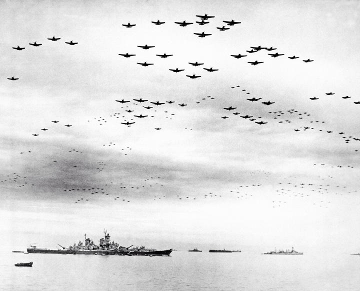 Slide 58 of 100: 1945: allied war ships and planes, Tokyo Bay, Jaan.