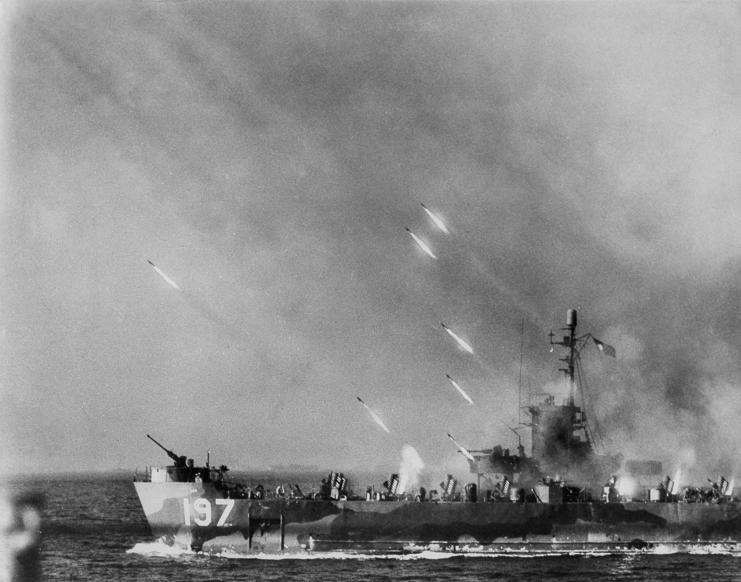 Slide 79 of 100: 1945: World War II; Asia: battle of Okinawa: US-Navy disembarkment