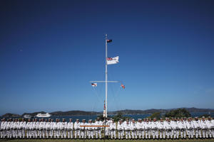 Royal NZ Navy Beat Retreat on the Upper Treaty Grounds on February 5, 2017 in Waitangi, New Zealand.