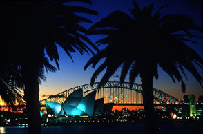 30 Aug 2000: (FILE PHOTO) Sunset over the Olympic Rings on the Sydney Harbour Br...