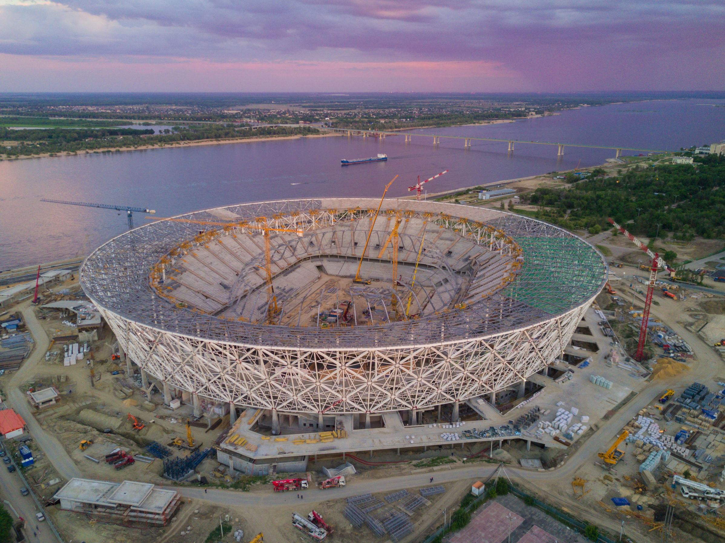 Slide 99 of 100: An aerial picture taken with a drone on June 20, 2017 shows the Volgograd Arena football stadium under construction for the 2018 FIFA World Cup, in Volgograd. / AFP PHOTO / Ruslan SHAMUKOV (Photo credit should read RUSLAN SHAMUKOV/AFP/Getty Images)