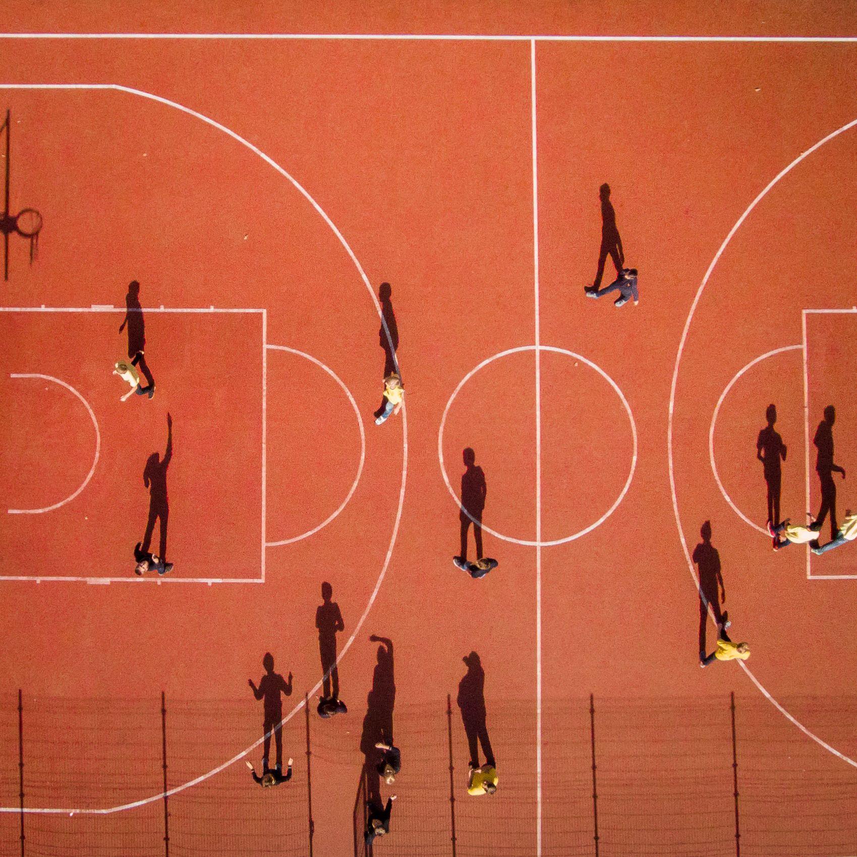Slide 86 of 100: Children playing basketball during the school break. Vilnius, Lithuania.
