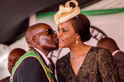 President Robert Mugabe with wife and first lady Grace Mugabe.