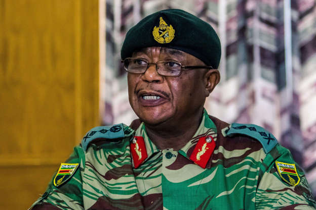Zimbabwe Army General Constantino Chiwenga addresses a media conference