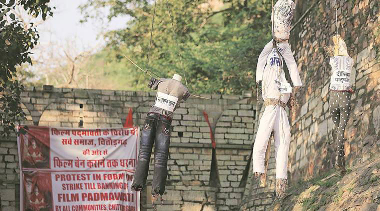 "Outside the Chittorgarh fort, a protest against the movie and ""anyone who speaks in its support"""