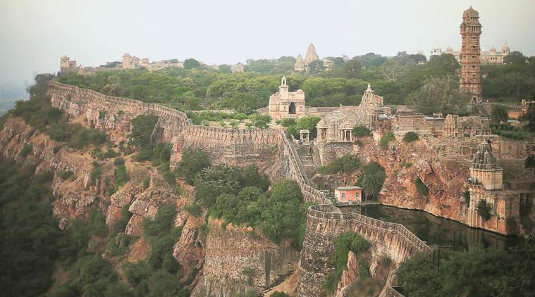 The whale-shaped Chittorgarh fort is one of the largest in India