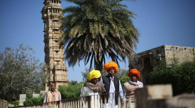 Local tourists in the Chittorgarh Fort in Rajasthan.