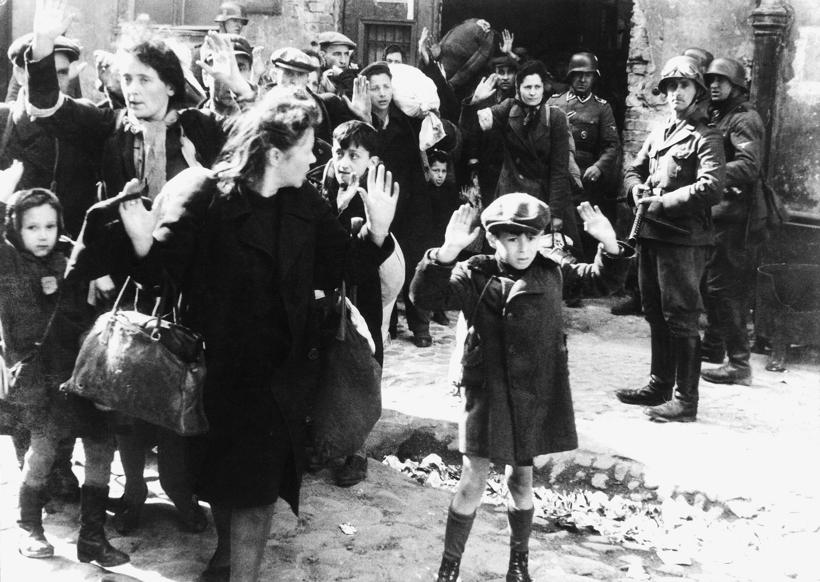 Slide 96 of 100: CAPTION: Polish Jewish resistance women, captured after the destruction of the Warsaw Ghetto in 1943. (Photo by: Universal History Archive/ UIG via Getty Images)