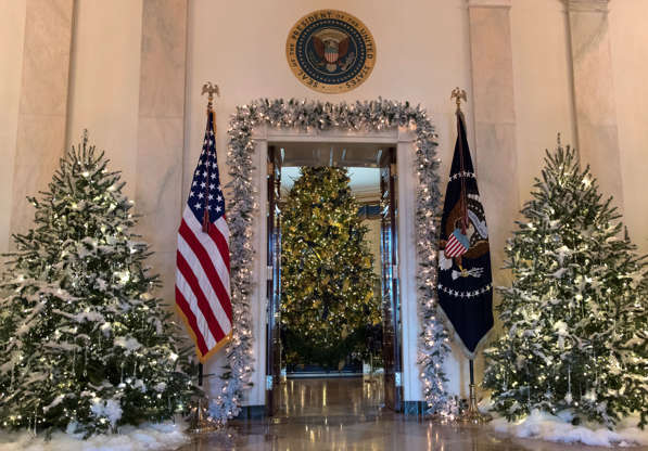 Diapositiva 3 de 19: The official White House Christmas tree, center, is seen in the Blue Room during a media preview of the 2017 holiday decorations at the White House in Washington, Monday, Nov. 27, 2017. (AP Photo/Carolyn Kaster)