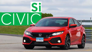 a red car parked on the side of a road: 2017 Honda Civic Si Road Test