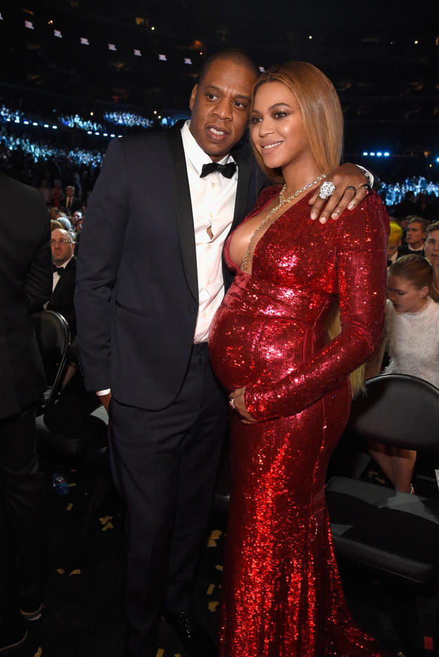 Jay Z and Beyonce during The 59th GRAMMY Awards