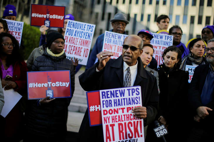 Haitian immigrants and supporters rally to reject DHS Decision to terminate TPS for Haitians, at the Manhattan borough in New York, U.S., November 21, 2017.