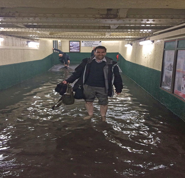 Handout photo taken with permission from the Twitter feed of @Bloo_Bel of flooding at Carnforth railway station in Lancashire
