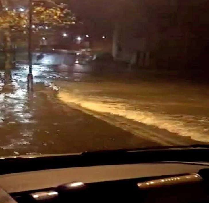 Screen grabbed image taken from video shared by Bedwyr Morgan at Welsh Ambulance Service of flooding in Anglesey, North Wales