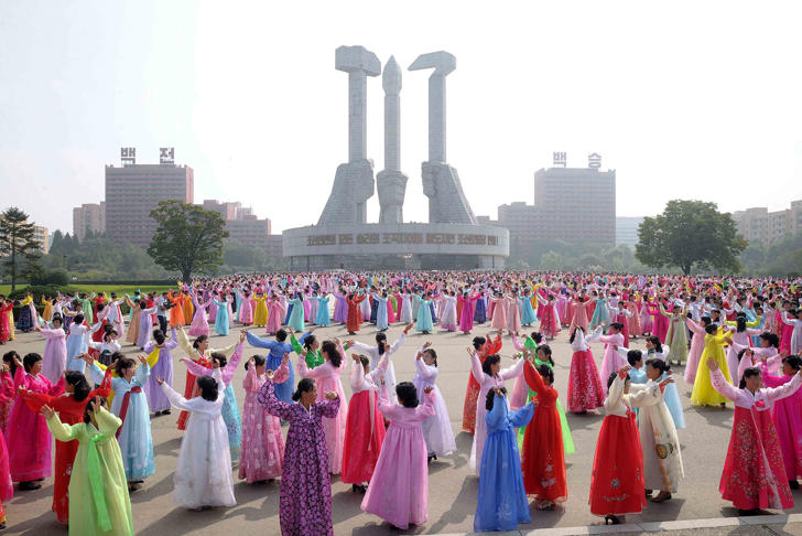 North Korean women's union holding a dance party to celebrate the 69th anniversary of North Korea's national day.