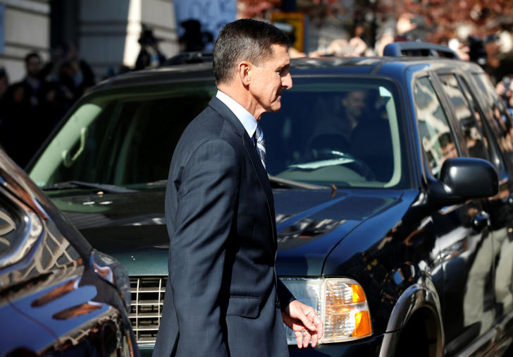 Former U.S. National Security Adviser Michael Flynn departs after a plea hearing at U.S. District Court, in Washington, U.S., December 1, 2017.