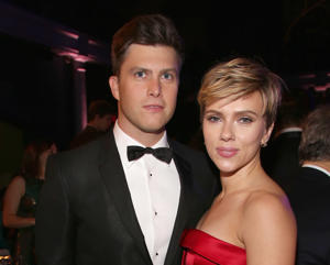 NEW YORK, NY - NOVEMBER 30: Colin Jost and Scarlett Johansson attends The 2017 Museum Gala at American Museum of Natural History on November 30, 2017 in New York City. (Photo by Sylvain Gaboury/Patrick McMullan via Getty Images)