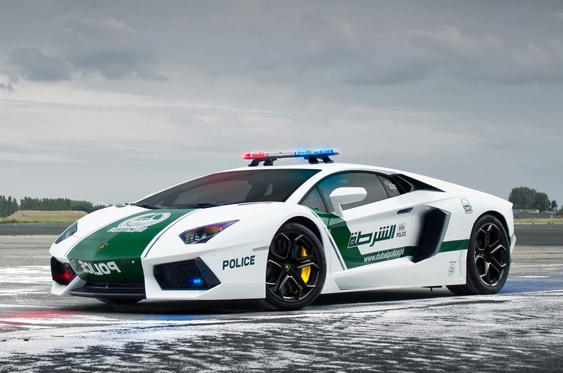 Slide 44 of 78: <p>Another car that makes up part of the Dubai Police fleet is this Lamborghini Aventador LP700-4, which sits alongside a BMW i8, Audi R8 V10 and McLaren MP4-12C.</p>