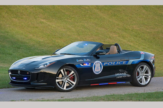 Slide 48 of 78: <p>Each year the US-based dealership chain Elder Automotive Group dedicates a car to a fallen police officer and in 2014 a Jaguar F-Type S V8 was donated to the City of Hazel park Police in memory of Deputy Sheriff Grant Whittaker who was killed in a car crash while pursuing a criminal.</p>