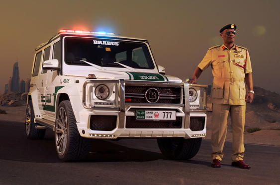 Slide 32 of 78: <p>Dubai for many years has had a range of eyebrow-raising police vehicles in use. And although the publicity for the emirate is doubtless welcome, all of them are in operational use. In this case, a regular Mercedes G-Wagen obviously wouldn't be good enough, which is why they've got a Brabus-tuned edition instead. The 690bhp 700 Widestar should be just the job for tackling sand dunes at speed.</p>
