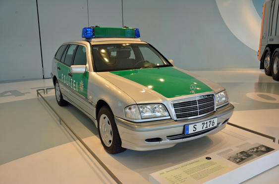 Slide 19 of 78: <p>At first glance, there's nothing noteworthy about this Mercedes-Benz C220 CDI. It's precisely the type of vehicle you'd expect to pull you over in Germany in the early 2000s. It's special because it's one of the very first Polizei cars to receive the silver and green livery introduced in 2000. Mercedes notes Germany's police force replaced white with silver to make its cars easier to sell after they retire and the green comes off. The example pictured here served on Stuttgart's police force from 2000 to 2002. Police forces in Britain moved to buy only silver vehicles for the same reason over the past 15 years or so.</p>
