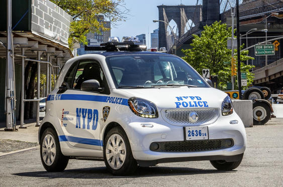 Slide 15 of 78: <p>The New York City Police Department added the Smart Fortwo to its fleet in 2016. The tiny city car is one of the slowest models on the American market but it's not used for high-speed chases so quickness is a moot point. It's a traffic enforcement vehicle mostly used to issue parking tickets and make sure tourists don't ride Segways into oncoming traffic. Several hundred blue and white examples of the Fortwo zig-zag across New York every day.</p>
