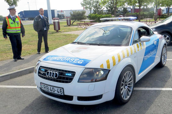 Slide 29 of 78: <p>When the original Audi TT hit the market it was just the job for Hungarian traffic police who needed to keep up with tearways in their high-performance German cars. Power came from Audi's 1.8T engine rather than the 3.2 V6.</p>