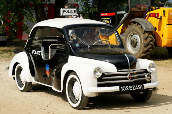 Slide 18 of 78: <p>One of 75 4CVs built by Renault for Paris police, this is one of the first 15 cars built, with cut-down windows to enable guns to be fired at fleeing criminals. The auctioneer Bonhams sold this car in 2017, for €39,100 (£34,400 & US$45,700).</p>