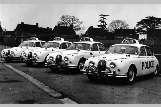 Slide 37 of 78: <p>Villians often stole high-performance saloons for their getaways and the cops needed something that could catch up. The Jaguar MkII in 3.4 or 3.8-litre guise was just the job.</p>