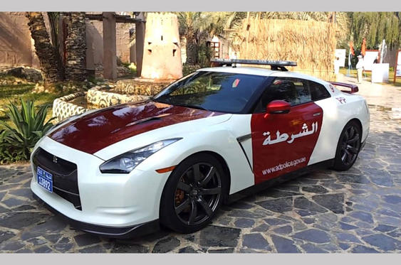 Slide 39 of 78: <p>Several police forces around the world have a Nissan GT-R or two on their fleets; this one is part of the roster of highway patrol cars in Abu Dhabi. It sits alongside a Rolls-Royce Phantom, Chevrolet Camaro and something a bit special that we'll show you later...</p>