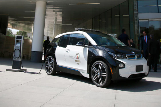 Slide 30 of 78: <p>Compact, agile and very frugal, the BMW i3 has been adopted by numerous police forces around the globe for work in urban environments. This is one of 100 electric i3s ordered by the Los Angeles police, for urban patrols.</p>