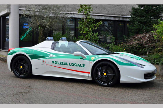 Slide 6 of 78: <p>When a Mafia boss was convicted of terrorising Milanese residents, the police confiscated his 458 Spider and used it as a mobile billboard to promote the fact that crime doesn't pay.</p>