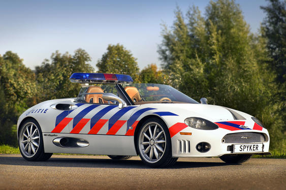 Slide 35 of 78: <p>Holland doesn't have much of a home-grown car industry but it does have Spyker. The company delivered one of its C8 Spyders to the Flevoland Police, complete with Audi-sourced 4.2 V8, for traffic duties.</p>