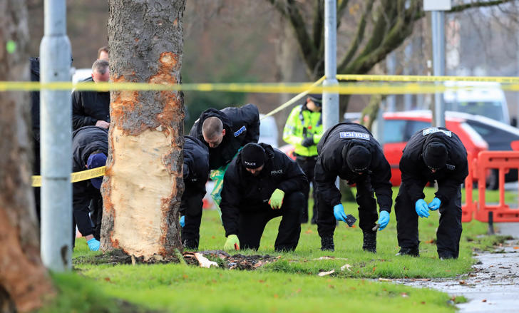 File photo dated 27/11/17 of police conducting a search at the scene of a car crash in Stonegate Road, Leeds