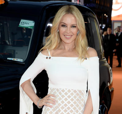 26 枚のスライドの 1 枚目: LONDON - FEBRUARY 18:  Singer and host Kylie Minogue arrives at the Brit Awards 2009 at Earls Court on February 18, 2009 in London, England.