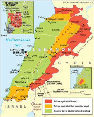 The Foreign Office advises against most travel around Lebanon and in certain areas of Beirut