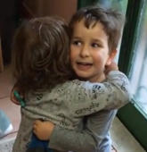 Cousins can't stop hugging