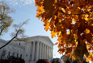 U.S. Supreme Court is seen in Washington, U.S., November 27, 2017. The Court, which has avoided major gun cases for seven years, on Monday declined to hear a challenge backed by the National Rifle Association to Maryland's 2013 state ban on assault weapons enacted after a Connecticut school massacre. REUTERS/Yuri Gripas - RC1F9C714100