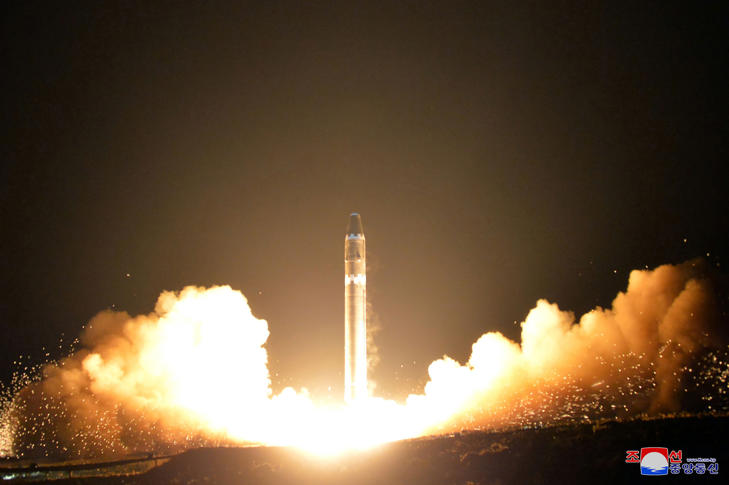 This photo taken on November 29, 2017 and released on November 30, 2017 by North Korea's official Korean Central News Agency (KCNA) shows launching of the Hwasong-15 missile which is believed to be capable of reaching all parts of the US.