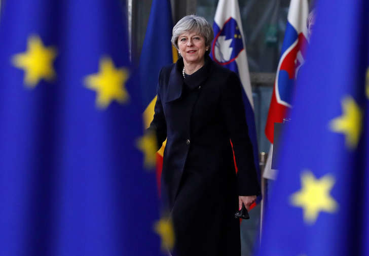 Britain's Prime Minister Theresa May arrives to attend the European Union summit in Brussels, Belgium, December 14, 2017.