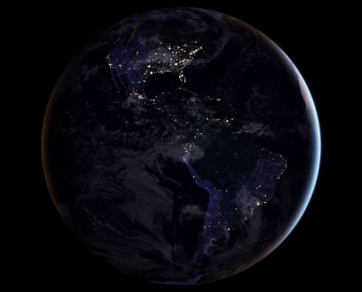 Slide 22 of 86: A composite image released by NASA on April 12, 2017 showing the full western hemisphere at night. This map of night lights is based on imagery from 2016. NASA Earth Observatory image by Joshua Stevens, using Suomi NPP VIIRS data from Miguel Rom‡n,