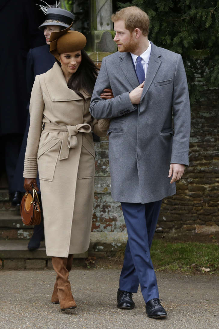 Prince Harry and his fiancee Meghan Markle arrive to attend the traditional Christmas Day service, at St. Mary Magdalene Church in Sandringham, England