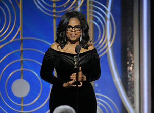 This image released by NBC shows Oprah Winfrey accepting the Cecil B. DeMille Award at the 75th Annual Golden Globe Awards in Beverly Hills, Calif., on Sunday, Jan. 7, 2018.