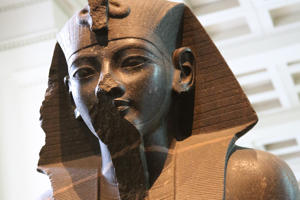 OCTOBER 14: Detail of a statue of Egyptian king Amenhotep III on display at the British Museum in Bloomsbury on October 14, 2016 in London, Great Britain, United Kingdom.