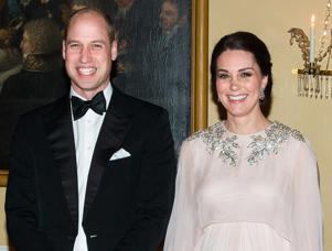 OSLO, NORWAY - FEBRUARY 01: (NO UK SALES FOR 28 DAYS) Catherine, Duchess of Cambridge and Prince William, Duke of Cambridge attend dinner at the Royal Palace on day 3 of their visit to Sweden and Norway on February 1, 2018 in Oslo, Norway. (Photo by Pool/Samir Hussein/WireImage)